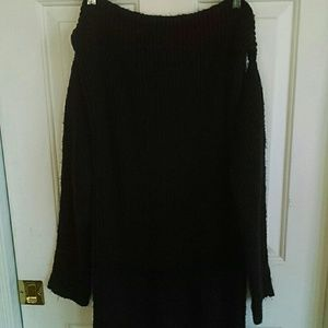 Tic Toc Off Shoulder Sweater in Black Size 3XL